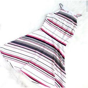 White Striped Halter Skater Dress